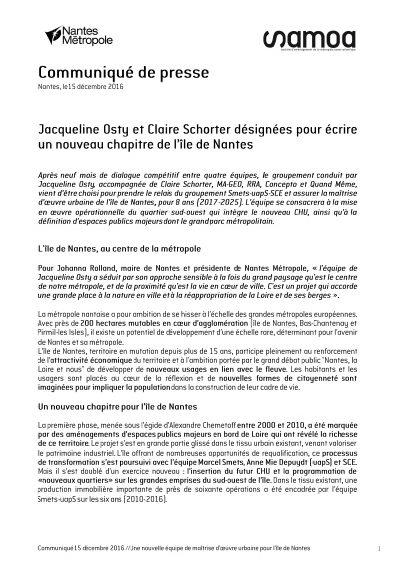 cp nouvelle maitrise 400x565 - Jacqueline Osty et Claire Schorter désignées pour conduire le nouveau chapitre de l'île de Nantes