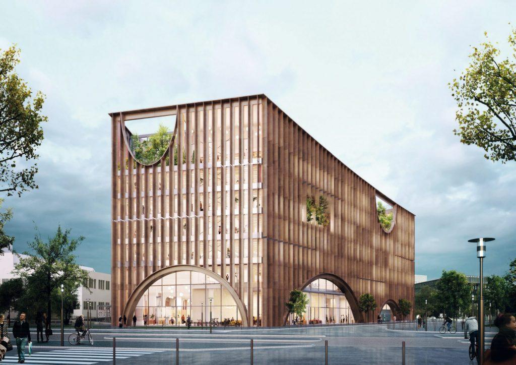 Perspective de la Maison de linnovation 2 © Baumschlager Eberle Architectes 1024x724 - Maison de l'innovation du Groupe La Poste