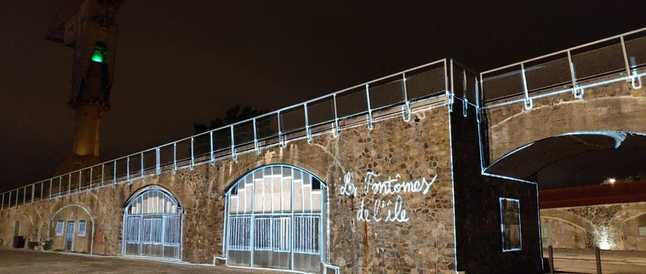 Parc des Chantiers. Expérimentation Tourmédia (quartier Démonstrateur). Vidéo mapping. Nantes (Loire-Atlantique) 09/2020 © Julien Roca/Samoa