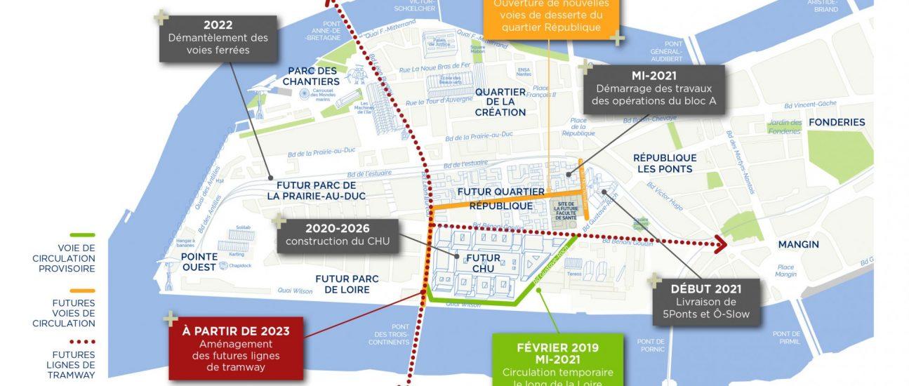 Cartographie Chantiers Sud-Ouest Ile de Nantes Samoa 2020-2030