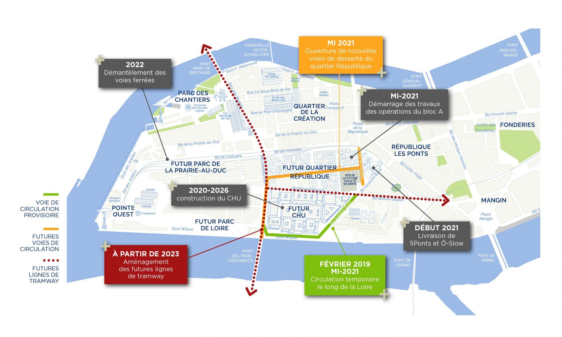IDN ChantierNouvelHopital Carto CMJN HD scaled - [Lettre Info Travaux n°1] Au sud-ouest de l'île de Nantes, le nouveau quartier République continue sa métamorphose