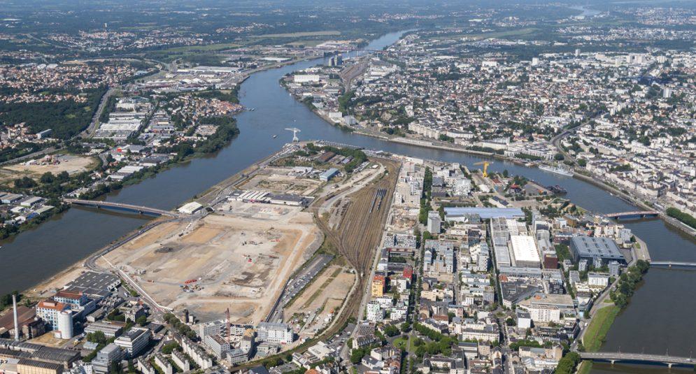 vue aérienne du sud-ouest de l'île de Nantes © Valéry Joncheray